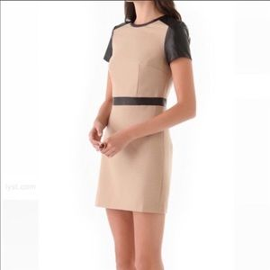 Club Monaco Fitted Wool Dress with Leather Accents